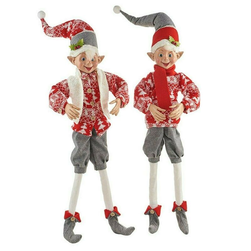 """Raz Imports Christmas Elf in Sweaters Posable 30"""" Set of 2 Elves Doll"""