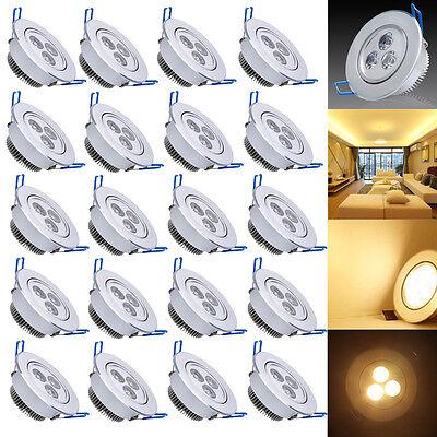 Spot Einbauleuchte 20x 3W LED Warmweiß Einbau Strahler Set Decken Leuchte Lampe