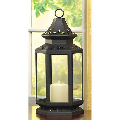"LARGE BLACK STAGECOACH CANDLE LANTERN TABLE CENTERPIECES DECOR 16"" HIGH~~13363 - Large Black Lanterns"