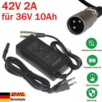 42V 2A Cargador Batería 36V 10Ah Litio Iones Para Pedelec Bicicleta Eléctrica