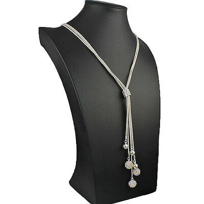 Long dangling cubic zirconia ball bead silver tassel costume jewellery necklace