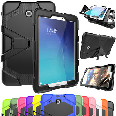 Rugged Shockproof Heavy Kickstand Case Cover For Samsung Tab E 9.6 T560 Black