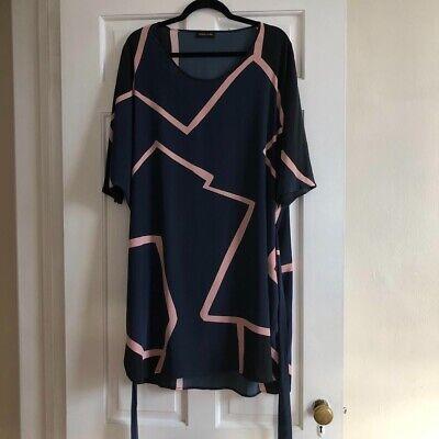 Stine Goya Geometric Navy / Black / Pink Print Silk Anthias Dress M/L