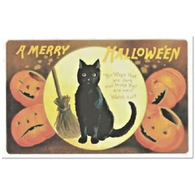 Post Card BLACK CAT Victorian Halloween POEM Jack O Lanterns SAMHAIN  Replica