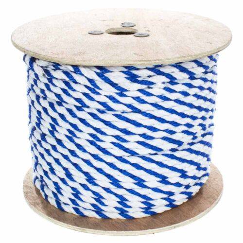 """Twisted Polypropylene Pool Rope White and Blue Color - 1/4"""", 3/8"""", 1/2"""", 3/4"""""""