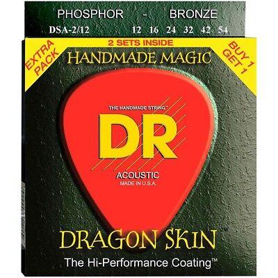 DR Dragon Skin Acoustic Guitar Strings Coated 2 Pack 12-54 Light DSA2-12 Dragon Skin Coated Light