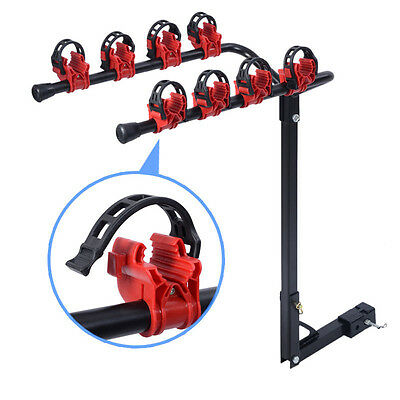 """4 Bicycle Bike Rack 1-1/4""""&2"""" Hitch Mount Carrier Car Truck AUTO SUV Red&Black"""