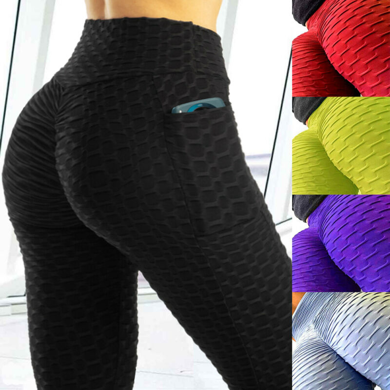 Women Anti-Cellulite Yoga Pants Pockets Butt Lift High Waist Leggings Fitness OO