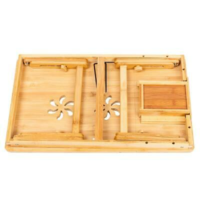Bamboo Laptop Desk Adjustable Breakfast Serving Bed Tray with Tilting Top Drawer 7
