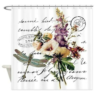 dragonfly and flowers shower curtain 1450645970