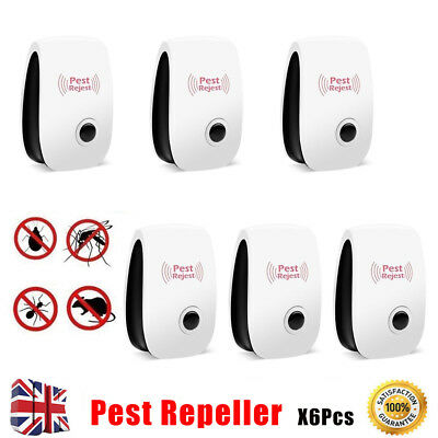 6x Pest Repeller Control Ultrasonic House Electronic Mouse Mice Mosquito Plug in