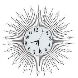 Large Luxury Diamond Crystal Style Vintage Metal Sunburst Wall Clock Modern