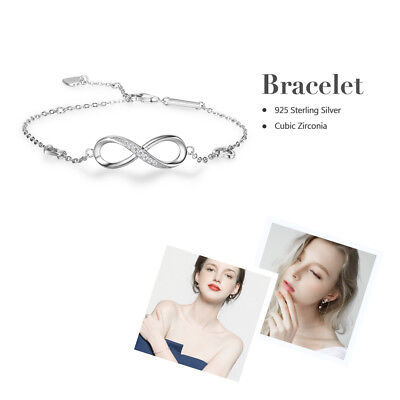 (925 Sterling Silver Crystal Chain Infinity Bracelet Bangle Jewelry Birthday Gift)