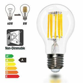 E27 LED FILAMENT LIGHT BULB 8W 800Lm EDISON SCREWIN ENERGY SAVING GLOBE DIMMABLE
