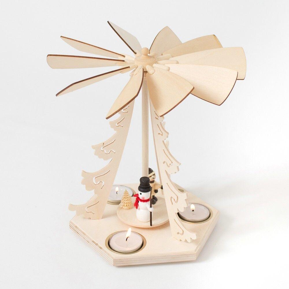 1 stufige weihnachtspyramide pyramide erzgebirge holz schneemann teelichter eur 34 90. Black Bedroom Furniture Sets. Home Design Ideas