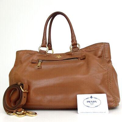 Authentic PRADA BN2103 Logo Hardware 2way Shoulder Tote Bag Soft Calfskin Le...