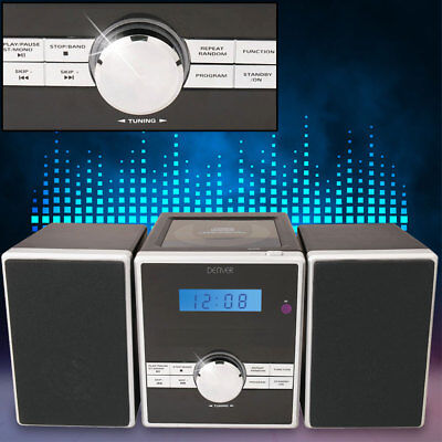 Kompakt Stereo Musik Mini Anlage CD Player Radio AUX Uhr Alarm Fernbedienung ()