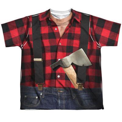 LUMBERJACK COSTUME Kids Front Print Tee Shirt SM-XL BOYS SZ 6-20 Halloween - Lumberjack Costume Kids