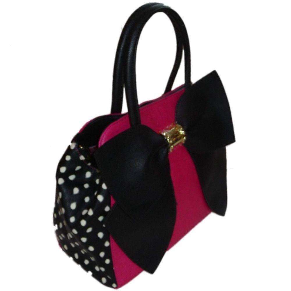 Betsey Johnson Damen Tasche Handtasche mit großer Schleife und Punkte Pink