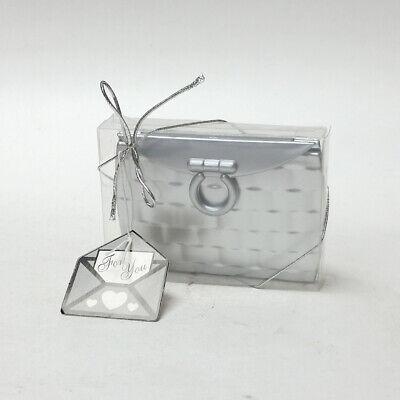 Silver Gray Purse Design Compact Mirror Favor Bridal Shower Gift Party Elegant (Design Compact Mirror)