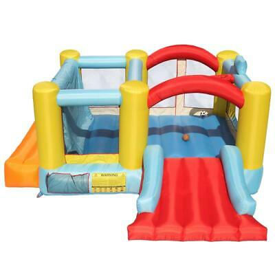 Inflatable Basketball Hoop (Inflatable Bounce House Castle Kids Fun Jumper Slide Bouncer w/ Basketball)