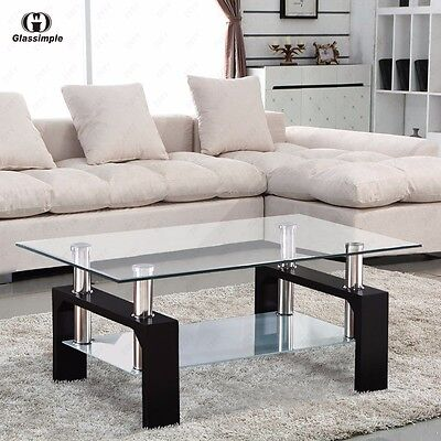 تربيزه جديد Rectangular Glass Coffee Table Shelf Chrome Black Wood Living Room Furniture