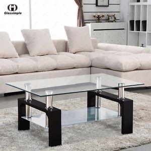 Rectangular Glass Coffee Table Shelf Chrome Black Wood Living Room Furniture
