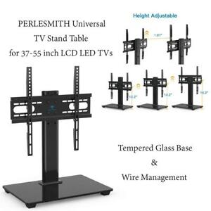 NEW PERLESMITH Universal TV Stand Table Top TV Stand for 37-55 inch LCD LED TVs - Height Adjustable with Tempered Gla...