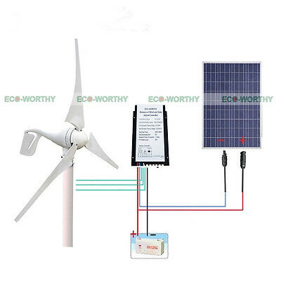 1750W/Day Hybrid Kit 400W Wind Turbine Generator &100W Panel 20A Controller 12V
