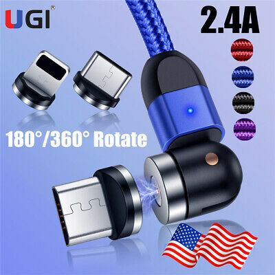 US 180°/360° Magnetic Cable Type C Micro USB iOS Charging Cord For Android Phone