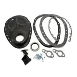 SBC Chevy 2 Piece EDP Black Timing Chain Cover -3 05 327 350 400 Small Block