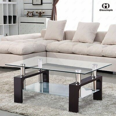تربيزه جديد Rectangular Glass Coffee Table Shelf Chrome Walnut Wood Living Room Furniture