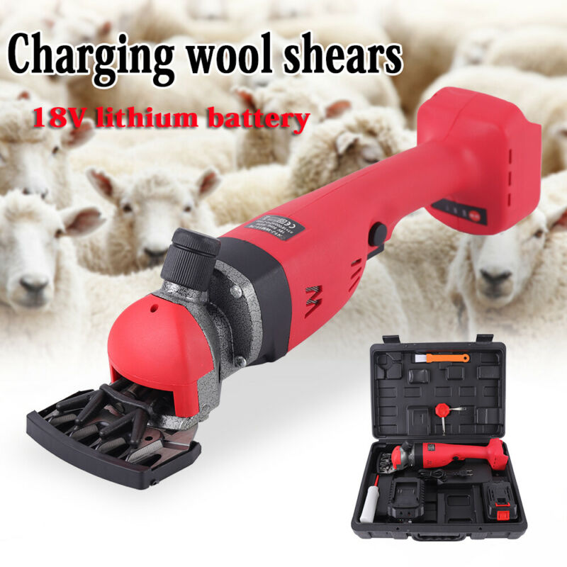 18V Adjustable Electric Shearing Clipper Farm Sheep Grooming Shear 2 Speed