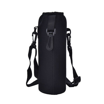 1000ML Water Bottle Carrier Insulated Cover Bag Holder Strap Pouch Outdoor Black