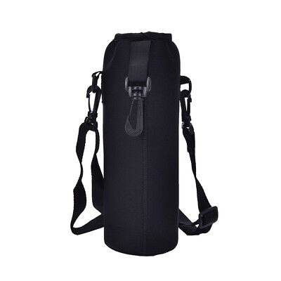 - 1000ML Water Bottle Carrier Insulated Cover Bag Holder Strap Pouch Outdoor Black