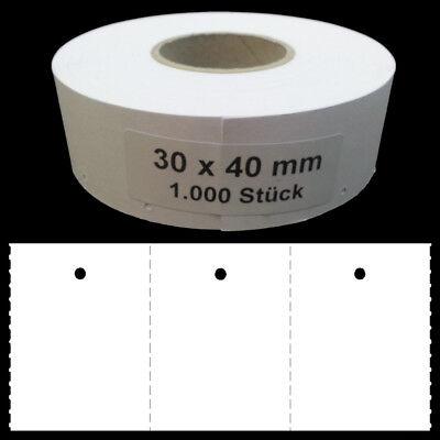 EE534= 1.000 Endlos Etiketten 30x40 blanko Rolle Kartonetiketten Preisetikettten
