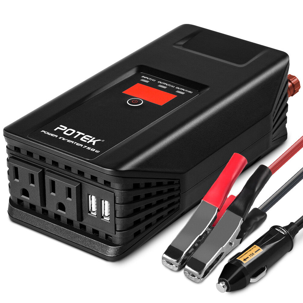 POTEK 750W Power Inverter 12 Volt DC To 110 Volt AC Car Adap