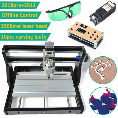 3018pro Cnc Router 3 Axis 5500mw Laser Engraving Machine Pcb Wood Diy W Offline