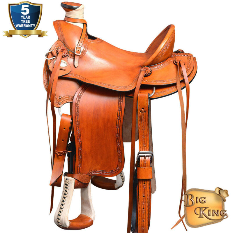15 16 17 In Western Horse Wade Saddle Leather Ranch Roping Tan U-69ST