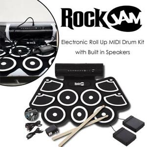 RockJam Electronic Roll Up MIDI Drum Kit with Built in Speakers, Foot Pedals, Drumsticks, and Power Supply Condtion: ...