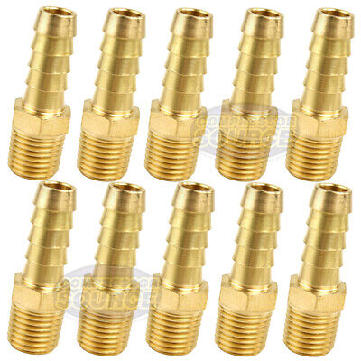 "10 Pack 3/8"" x 1/4"" MNPT Pipe Thread Brass Air Hose Barb Fitting For 3/8"" Hose"
