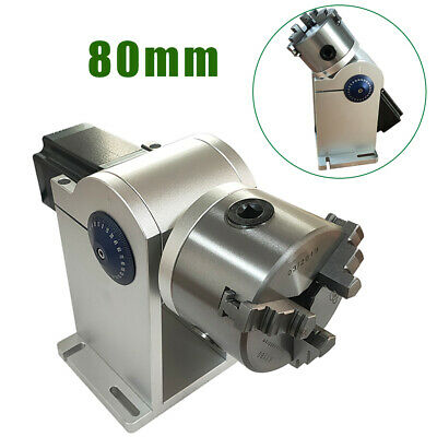 80mm Laser Rotation Axis Chuck Rotary Shaft W Stepping Driver For Laser Machine
