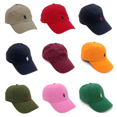 US Stock Polo Classic Embroidered Pony Cotton Chino Baseball Cap Adjustable Hat