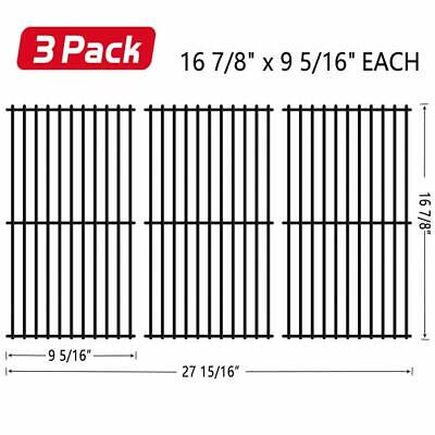 Porcelain Steel Grates - 3 Pack Porcelain Steel Cooking Grates 16 7/8'' Charbroil Grill Parts Replacement