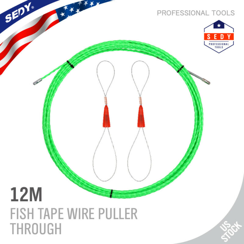 40FT Fish Tape Wire Puller Through Wall, Electrical Fish Tape Pull Push Kit 12M