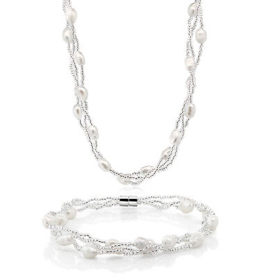 Twisted White Cultured Freshwater Pearl Necklace & Bracelet With Magnetic Clasp - Magnetic White Freshwater Pearl Bracelet