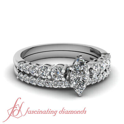 1.15 Ct Marquise Cut Diamond Engagement Rings And Wedding Ba