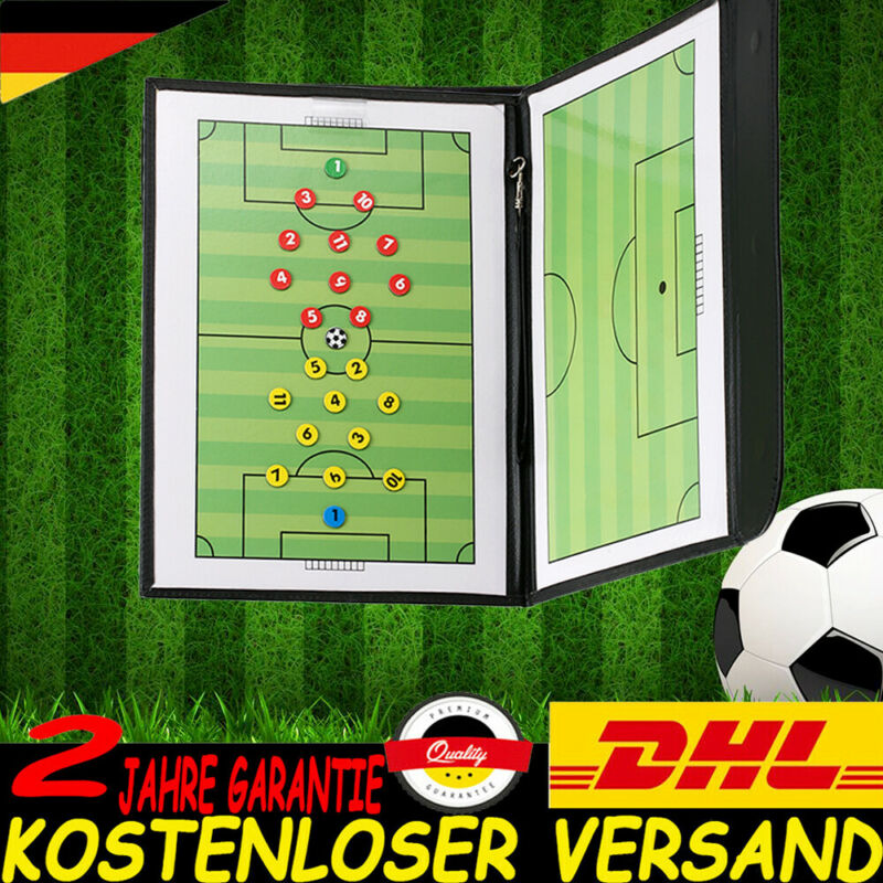 Fußball Taktiktafel PU-Leder Taktikmappe Coachboard mit Magnetmarker&Stift Q8U6