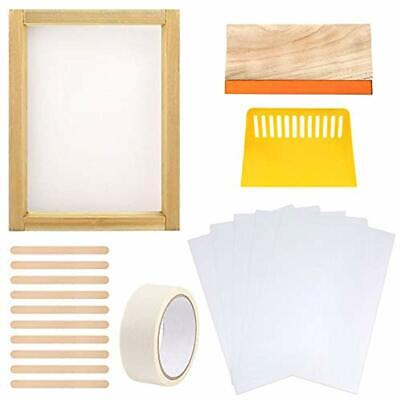 19 Pieces Screen Accessories Printing Starter Kit Include 10 X 14 Inch Wood Silk