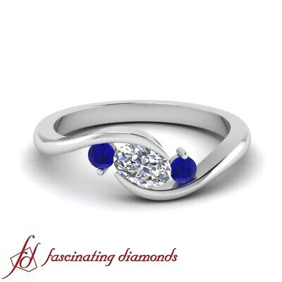 .75 Ctw Oval Shaped Diamond & Sapphire 3 Stone Engagement Ring In 18K White Gold
